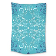 Repeatable Flower Leaf Blue Large Tapestry by Mariart
