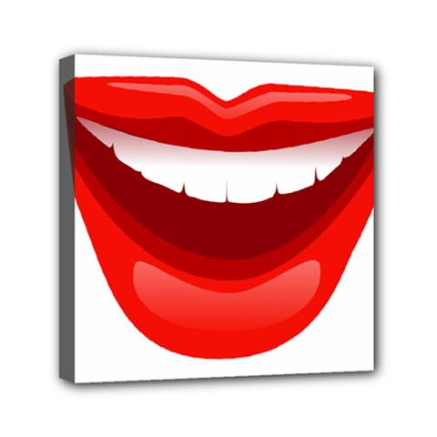 Smile Lips Transparent Red Sexy Mini Canvas 6  X 6  by Mariart
