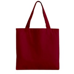 Burgundy Solid Color  Zipper Grocery Tote Bag by SimplyColor