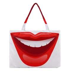 Smile Lips Transparent Red Sexy Medium Tote Bag by Mariart