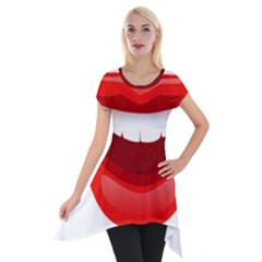 Smile Lips Transparent Red Sexy Short Sleeve Side Drop Tunic by Mariart