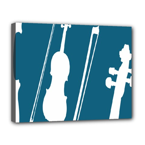 Violin Music Blue Canvas 14  X 11  by Mariart