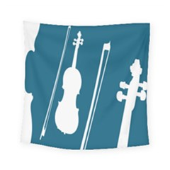 Violin Music Blue Square Tapestry (small) by Mariart