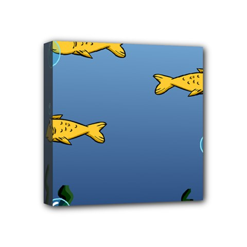 Water Bubbles Fish Seaworld Blue Mini Canvas 4  X 4  by Mariart