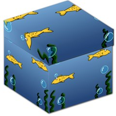 Water Bubbles Fish Seaworld Blue Storage Stool 12   by Mariart