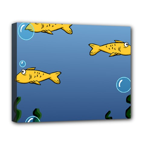 Water Bubbles Fish Seaworld Blue Deluxe Canvas 20  X 16   by Mariart