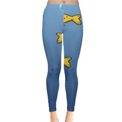 Water Bubbles Fish Seaworld Blue Leggings  by Mariart