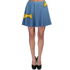 Water Bubbles Fish Seaworld Blue Skater Skirt by Mariart