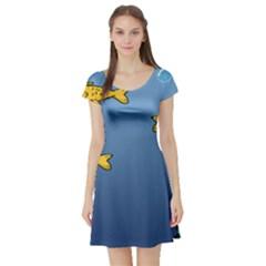 Water Bubbles Fish Seaworld Blue Short Sleeve Skater Dress