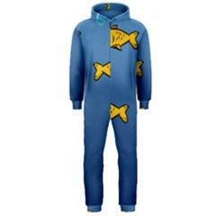 Water Bubbles Fish Seaworld Blue Hooded Jumpsuit (men)  by Mariart