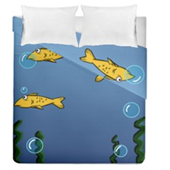 Water Bubbles Fish Seaworld Blue Duvet Cover Double Side (queen Size) by Mariart