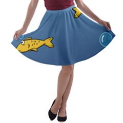 Water Bubbles Fish Seaworld Blue A Line Skater Skirt by Mariart