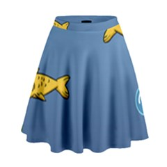 Water Bubbles Fish Seaworld Blue High Waist Skirt by Mariart