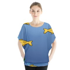 Water Bubbles Fish Seaworld Blue Blouse by Mariart