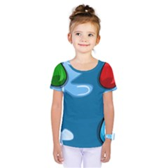 Water Balloon Blue Red Green Yellow Spot Kids  One Piece Tee by Mariart