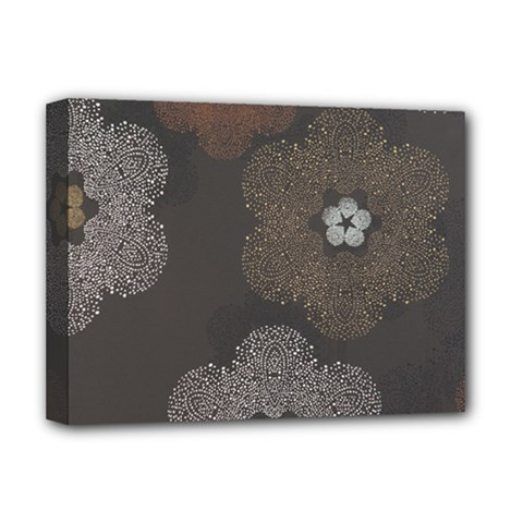 Walls Medallion Floral Grey Polka Deluxe Canvas 16  X 12   by Mariart