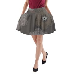 Walls Medallion Floral Grey Polka A Line Pocket Skirt