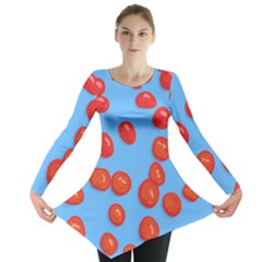 Tomatoes Fruite Slice Red Long Sleeve Tunic  by Mariart