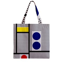 Watermark Circle Polka Dots Black Red Yellow Plaid Zipper Grocery Tote Bag by Mariart