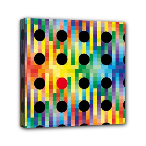 Watermark Circles Squares Polka Dots Rainbow Plaid Mini Canvas 6  X 6  by Mariart