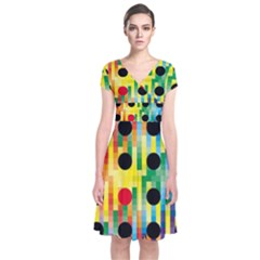 Watermark Circles Squares Polka Dots Rainbow Plaid Short Sleeve Front Wrap Dress