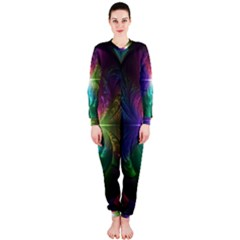 Anodized Rainbow Eyes And Metallic Fractal Flares Onepiece Jumpsuit (ladies)
