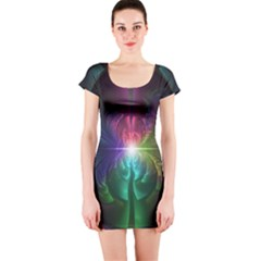 Anodized Rainbow Eyes And Metallic Fractal Flares Short Sleeve Bodycon Dress