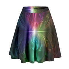 Anodized Rainbow Eyes And Metallic Fractal Flares High Waist Skirt by jayaprime
