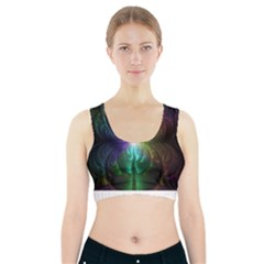 Anodized Rainbow Eyes And Metallic Fractal Flares Sports Bra With Pocket