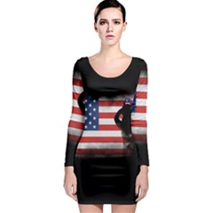 Honor Our Heroes On Memorial Day Long Sleeve Bodycon Dress by Catifornia