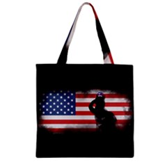 Honor Our Heroes On Memorial Day Zipper Grocery Tote Bag by Catifornia