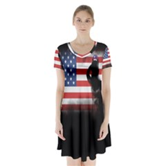 Honor Our Heroes On Memorial Day Short Sleeve V Neck Flare Dress by Catifornia