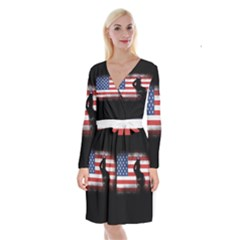 Honor Our Heroes On Memorial Day Long Sleeve Velvet Front Wrap Dress