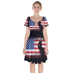 Honor Our Heroes On Memorial Day Short Sleeve Bardot Dress