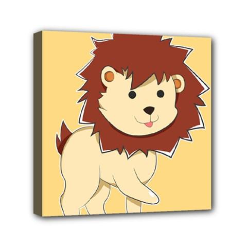 Happy Cartoon Baby Lion Mini Canvas 6  X 6  by Catifornia