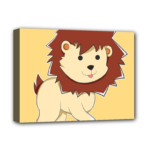 Happy Cartoon Baby Lion Deluxe Canvas 16  X 12   by Catifornia