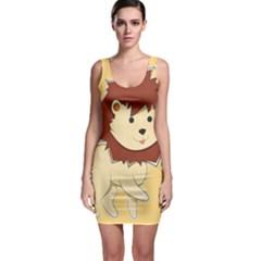 Happy Cartoon Baby Lion Sleeveless Bodycon Dress by Catifornia
