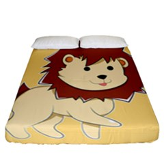 Happy Cartoon Baby Lion Fitted Sheet (california King Size) by Catifornia