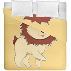 Happy Cartoon Baby Lion Duvet Cover Double Side (king Size) by Catifornia