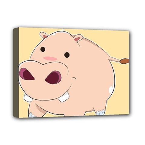 Happy Cartoon Baby Hippo Deluxe Canvas 16  X 12   by Catifornia