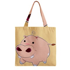 Happy Cartoon Baby Hippo Zipper Grocery Tote Bag by Catifornia