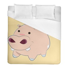 Happy Cartoon Baby Hippo Duvet Cover (full/ Double Size) by Catifornia