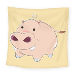 Happy Cartoon Baby Hippo Square Tapestry (large) by Catifornia