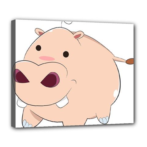 Happy Cartoon Baby Hippo Deluxe Canvas 24  X 20   by Catifornia
