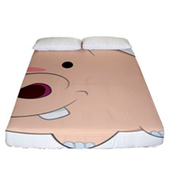 Happy Cartoon Baby Hippo Fitted Sheet (king Size) by Catifornia