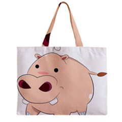 Happy Cartoon Baby Hippo Zipper Mini Tote Bag by Catifornia