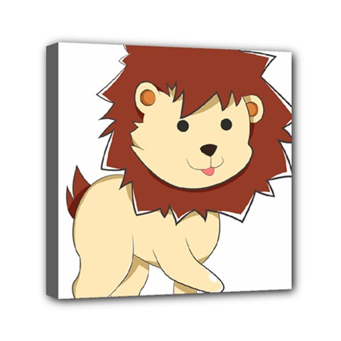 Happy Cartoon Baby Lion Mini Canvas 6  X 6  by Catifornia