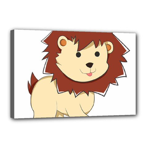 Happy Cartoon Baby Lion Canvas 18  X 12  by Catifornia