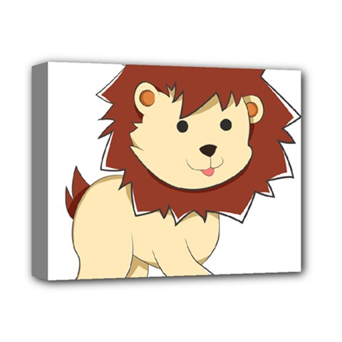 Happy Cartoon Baby Lion Deluxe Canvas 14  X 11  by Catifornia