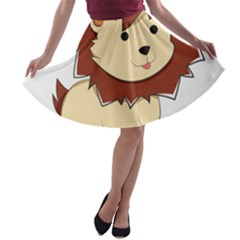 Happy Cartoon Baby Lion A Line Skater Skirt by Catifornia